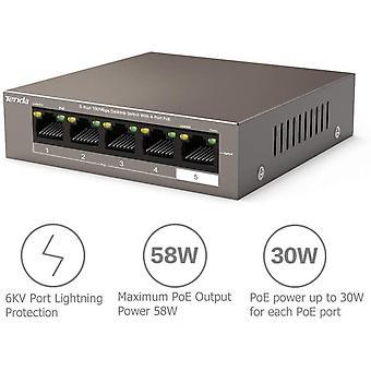FengChun TEF1105P-4-63W - 5 Port 10/100 MBit/s Desktop Switch mit 4 Port PoE, 63 Watt, Zusätzlich 1x