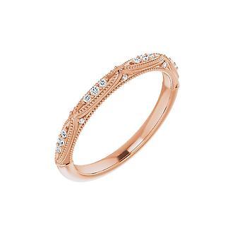 14k Rose Gold Polerad .07 Carat Diamond Band Storlek 7 Smycken Gåvor för Kvinnor - 2,7 Gram