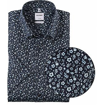 OLYMP Olymp Mens Big Size Comfort Fit Luxor Cotton Floral Print Casual Short Sleeve Shirt