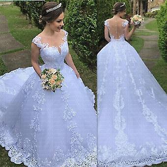 الفاخرة الدانتيل العروس فستان الرقبة مذهلة