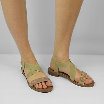 Shumo Heavenly Ladies Open Toe Elasticated Strappy Sandals Beige