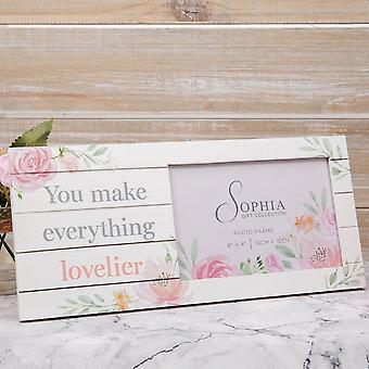 "6"" x 4"" - Sophia Wooden Floral Photo Frame - Lovelier"