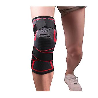 1pc Knee Brace Protective Gear Support Knee Pad Elastic Compression Knee Protector Sleeve For Basketball Climbing Outdoor Sports (size Xl, Red)