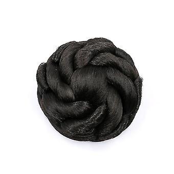 Barna gomb-stílusú virág haj zsemle Paróka Chignon