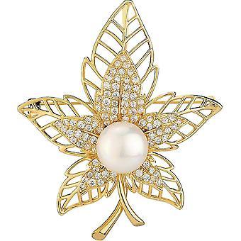 Elegante Damen Brosche Maple Leaf Corsage fünfzackigen Stern Zircon Brosche Pin Golden