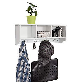 SoBuy pared pantalla almacenamiento cubos estante con colgar ganchos, FRG48-W