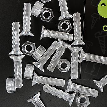 50 x Clear Crosshead Försänkt skruvmuttrar, brickor, bultar, M5 x 20mm