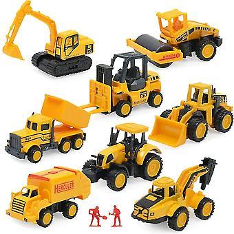 8pcs ילדים סגסוגת אינרציאלי הנדסה מכונית דגם שקופית צעצועים לרכב