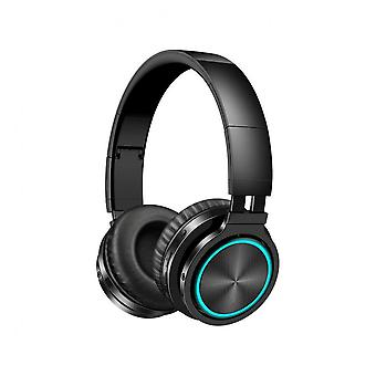 B12 Foldable Bluetooth 5.0 Headphone Rgb Light Strong Bass Volume Control Headset With Mic For Mobile Phones Black Color
