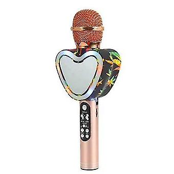 Heart Shape Wireless Bluetooth Karaoke Microphone,4 In 1 With Led Lights For Ktv(Rose Gold)