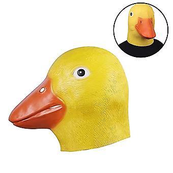 Halloween Nieuwigheid Deluxe Masker Eend Hoofdmasker Latex Dierenmasker Geel