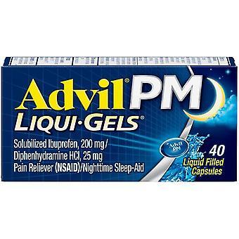 Advil PM (40 Count) Pain Reliever / Nighttime Sleep Aid Liquid Filled Capsule, 200mg Ibuprofen, 25mg Diphenhydramine