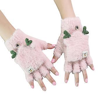 Dámske zimné teplé dotykové rukavice Roztomilý flip pletený rukavica