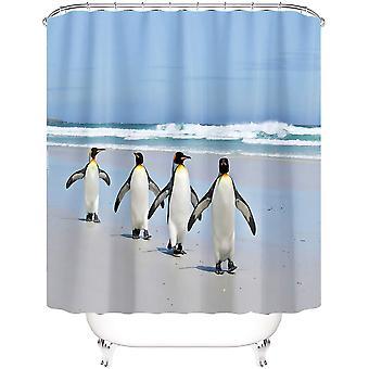 4pcs Bathroom Decor Set Bath Rug Four Penguins Pattern