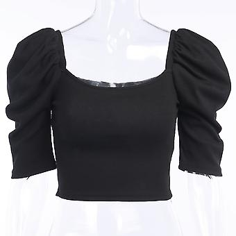 Summer T-shirt New Style Bubble Five-point Sleeve T-shirt Pullover Crop Top