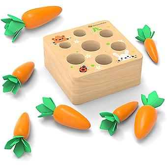 Toddler Wooden Toys, Montessori Toys Baby Educational Toys Carrot Sorting Game, Motor Skills Toys For 1 Year Old Boys And Girls, 1st Birthday Gift