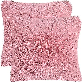 2pcs Soft Fuzzy Fur Cushion Covers Soft Sofa Pillowcases For Couch Bedroom Car Seat