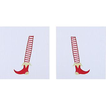 Santas Elf Legs Feet Christmas Holiday Waffle Weave Kitchen Dish Towels Set of 2