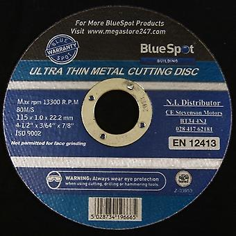 "Bluespot Metal Cutting Discs for Angle Grinder 1mm Ultra Thin Steel 4 1/2"" 115mm Pack of 10"