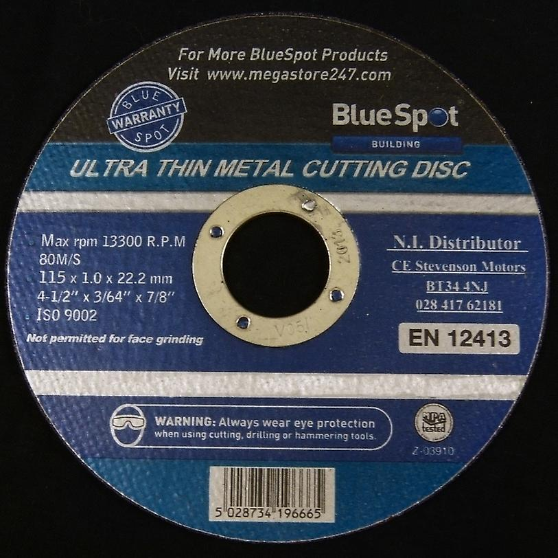 Bluespot Ultra Thin Steel Cutting Discs for Angle Grinders 115 x 22.2 x 1mm Pack of 50