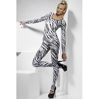 Catsuit sexy Stretchanzug lingerie zebra patroon semi-transparante lichaam