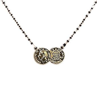 BOOLAVARD Celebrity Lucky Double Coin Pendant & Necklace - Gold & Silver + Jewellery Box