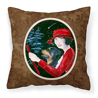 Lady driving with her Rottweiler Decorative   Canvas Fabric Pillow