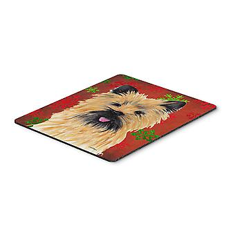 Cairn Terrier Red and Green Snowflakes Christmas Mouse Pad, Hot Pad or Trivet