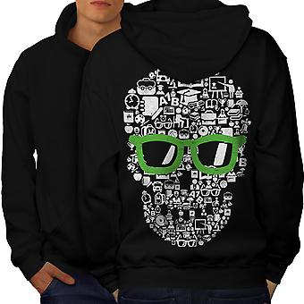 Swag Cool Head Face Skull Men BlackHoodie Back | Wellcoda