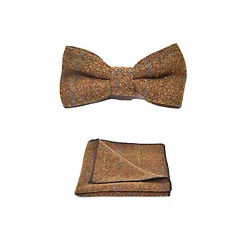 Heritage Check Cedar Brown Bow Tie & Pocket Square Set - Tweed, Plaid Country Look