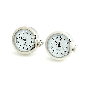 Mens Ladies Working Silver Tone Stainless Steel Clock Watch Cufflinks Wedding Formal Business
