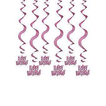 Verjaardag Glitz roze - Happy Birthday roze opknoping Swirl decoratie