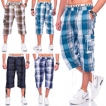 Men shorts cargo shorts Bermuda plaid cargo style shorts stretch waistband