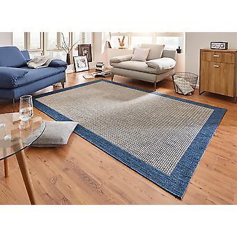 Tapis Design plat tissage simple avec bordure bleue