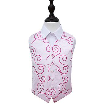 Elfenbein & heiße rosa Scroll Hochzeit Weste für jungen
