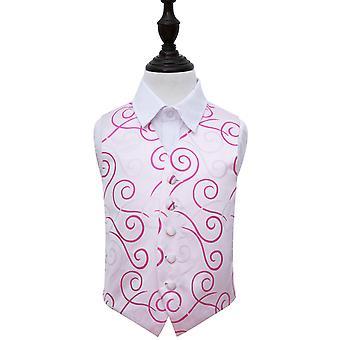 Ivory & Hot Pink Scroll Wedding Waistcoat for Boys