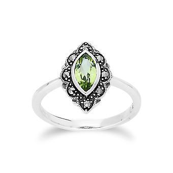 Gemondo Sterling Silver Peridot & Markasit Art Nouveau Ring