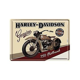 Harley Davidson Flathead metalli postikortti / mini merkki