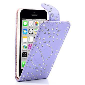 Kattaa matkapuhelin tapauksessa matkapuhelimen Apple iPhone 5 c tekojalokivi lila violetti