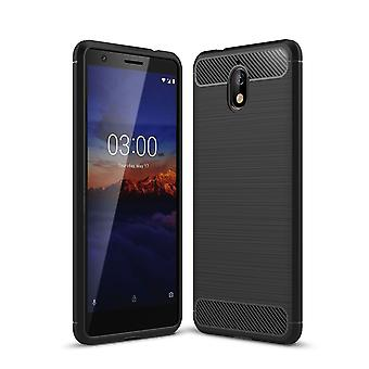 Nokia 3.1 dække silikone sort carbon ser sag TPU telefon sag kofanger