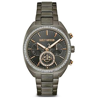 Harley Davidson Womens From The Lady Gear | Gunmetal Grey Stainless Steel 78M103 Watch