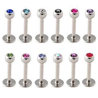 Tragus Piercing, kamień, wargi, ucha, stadniny Labret Bar | Długość 6-8 mm | 12 kolorów