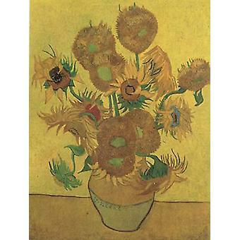 Asetelma maljakko neljätoista auringon kukkaa, Vincent Van Gogh, 50x40cm