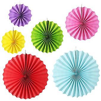 6PC SOLID COLOURED PAPER FAN DECS