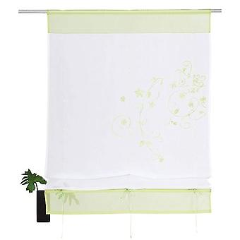 My home Ribbon shade green embroidered tunnel passage + accessories H/W 140 x 100 cm