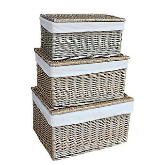 Set of 3 Small Antique Wash Cotton Lined Wicker Storage Basket