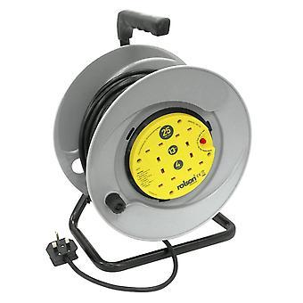 Extension de réseau Rolson 4 Plug Socket 25m sur enrouleur de câble à Protection thermique