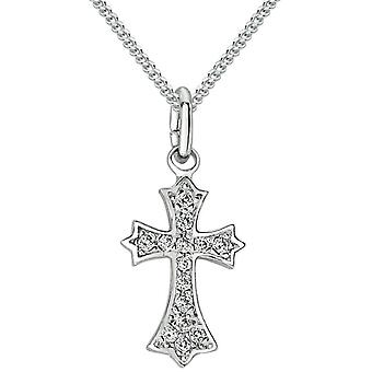 Bella Cubic Zirconia Set Cross Pendant - Silver