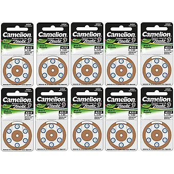 60 (10x6) Camelion Zinc-Air Hearing Aid Batteries 312, A312, PR41