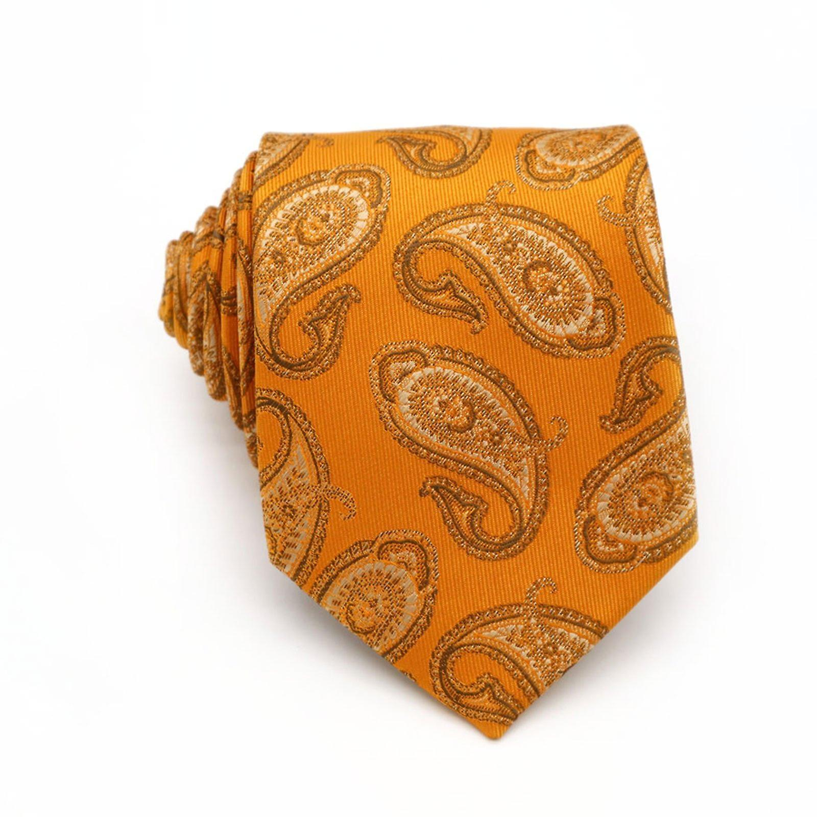 Orange paisley pattern necktie tie & pocket square set